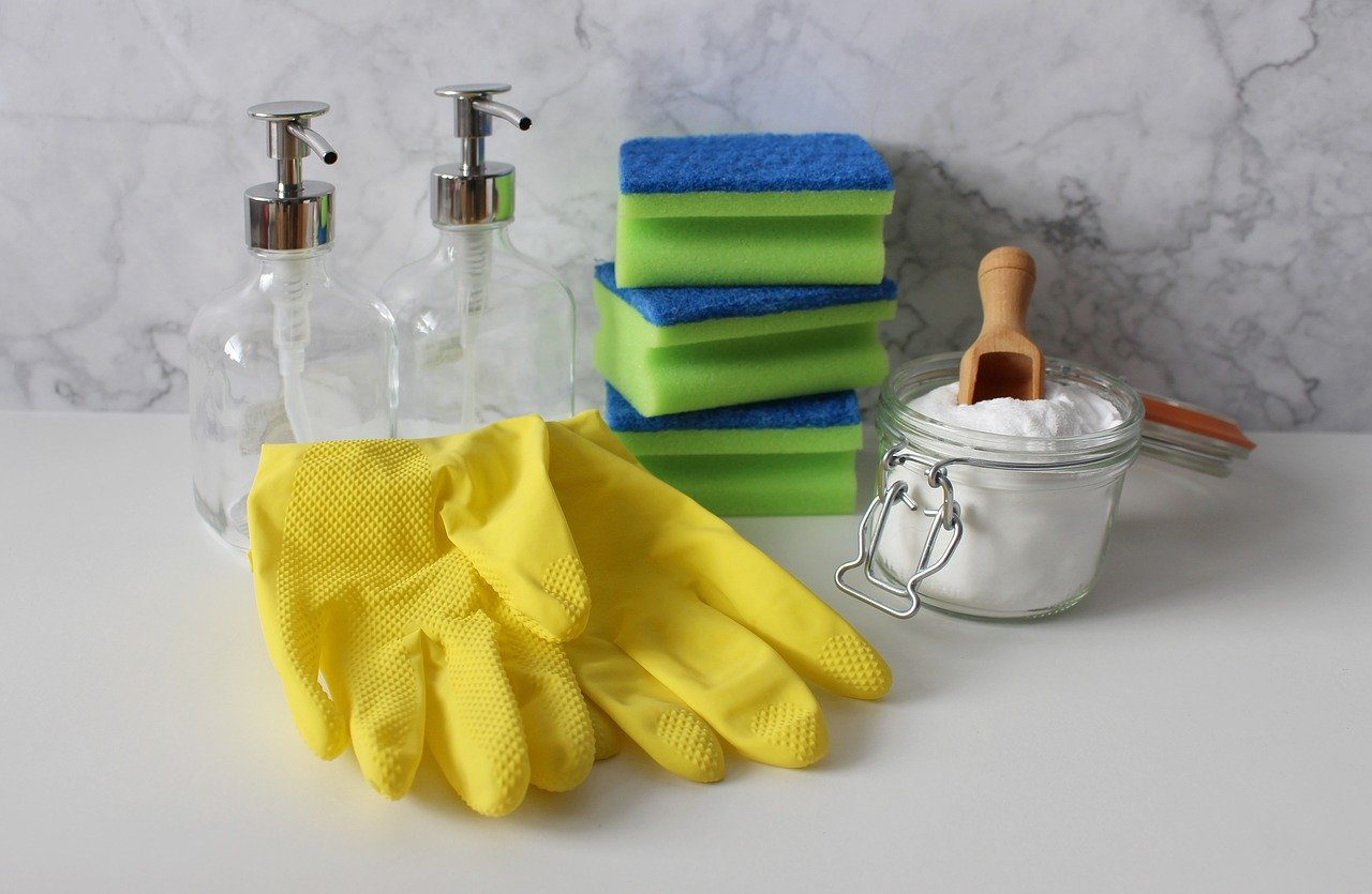 gloves and other cleaning materials