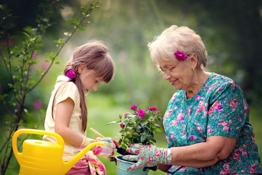 child and grandma gardening