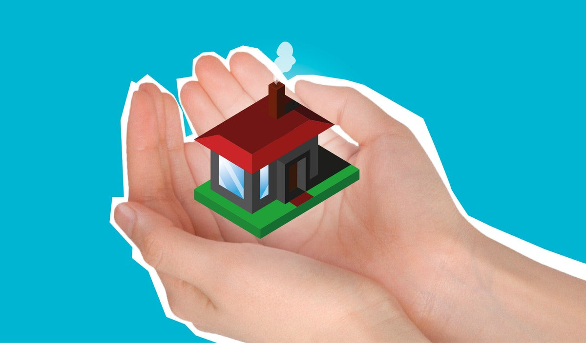 illustration of a tiny house in a hand