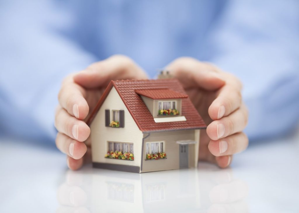 hand over miniature house model