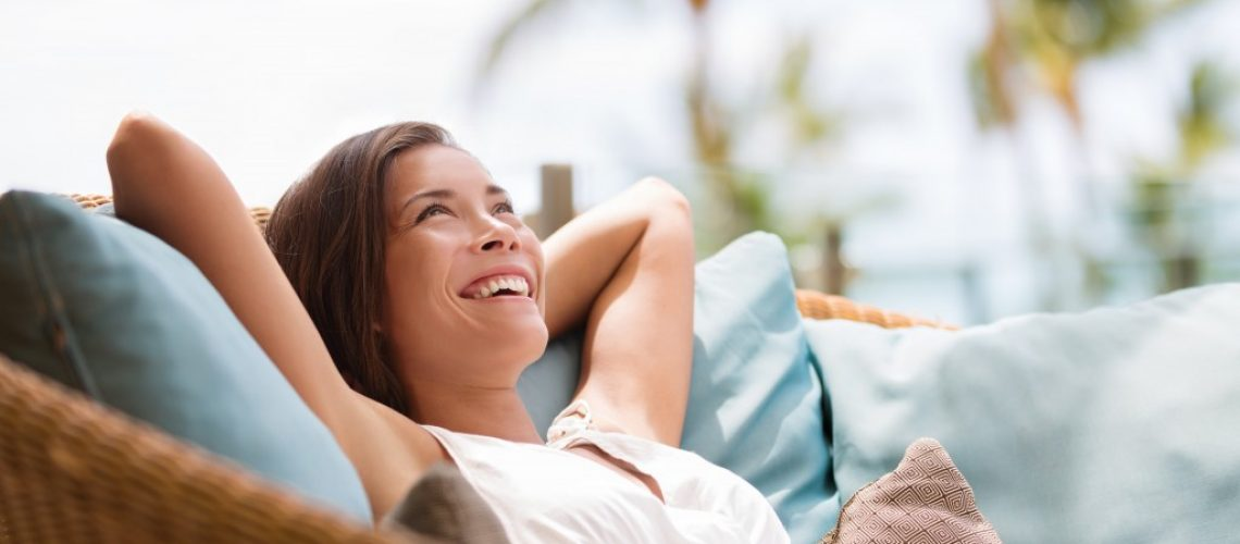 woman sitting outside relaxing